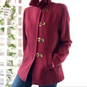 H&M recycled wool blend  jacket coat Sz 12 maroon